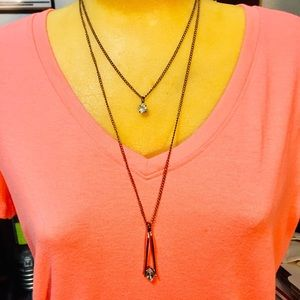 Two tier copper color necklace with 2 crystals